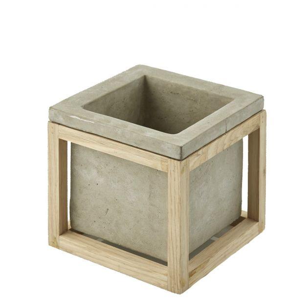 Vaso quadrato M struttura in legno: vasi in cemento design EDG