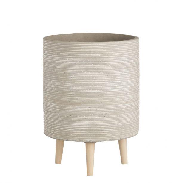 Portavaso Zampe: Portavaso di design in cemento su piedini in legno