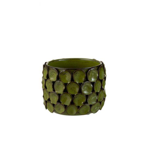 Vaso Malou : vaso basso in ceramica lavorato a mano H13
