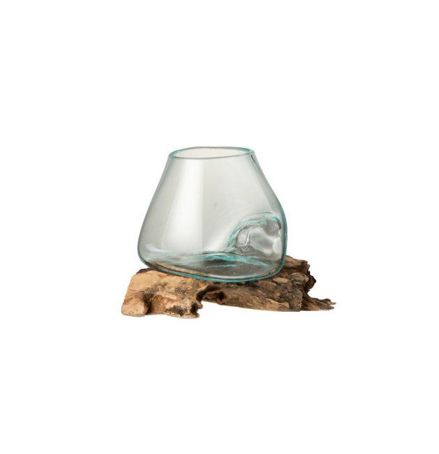 Vaso in vetro riciclato su legno naturale M