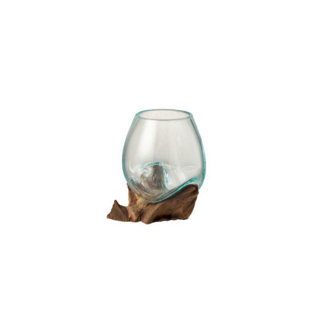 Vaso in vetro fuso riciclato su legno naturale S