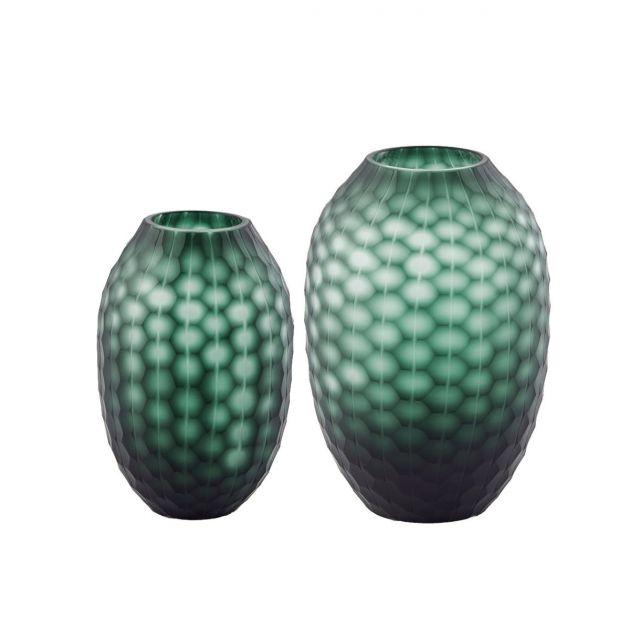 Vaso blu - verde Intaglio: vasi in vetro satinato design EDG