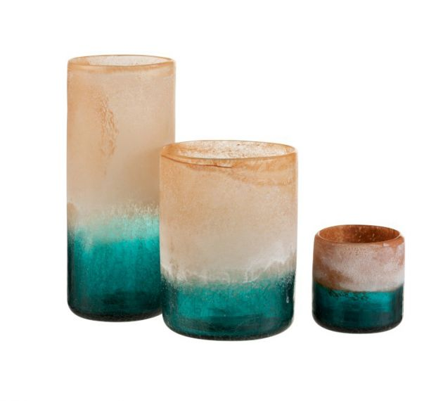 Vaso portacandela Malou in vetro Arancio/Turchese