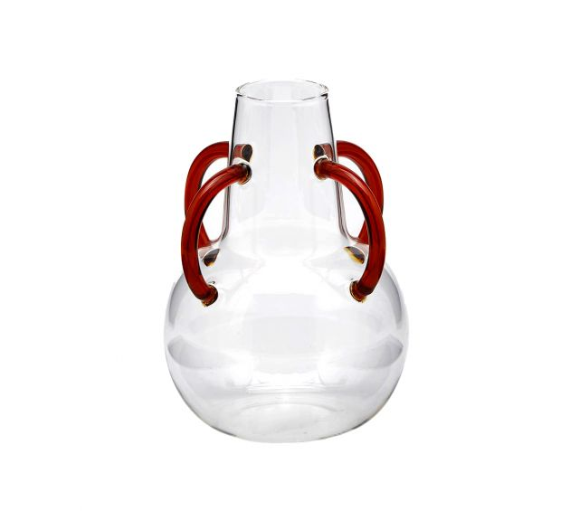 Vaso Ampolla in vetro con manici rossi