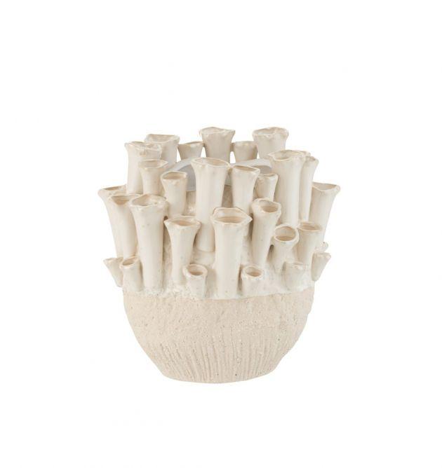 Vaso Anemone basso Ceramica Beige : Vasi di design in ceramica