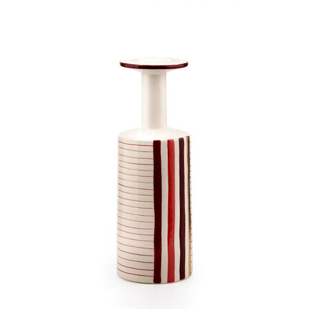 Vaso Bottiglia Righe H33 : Vaso decorativo in ceramica