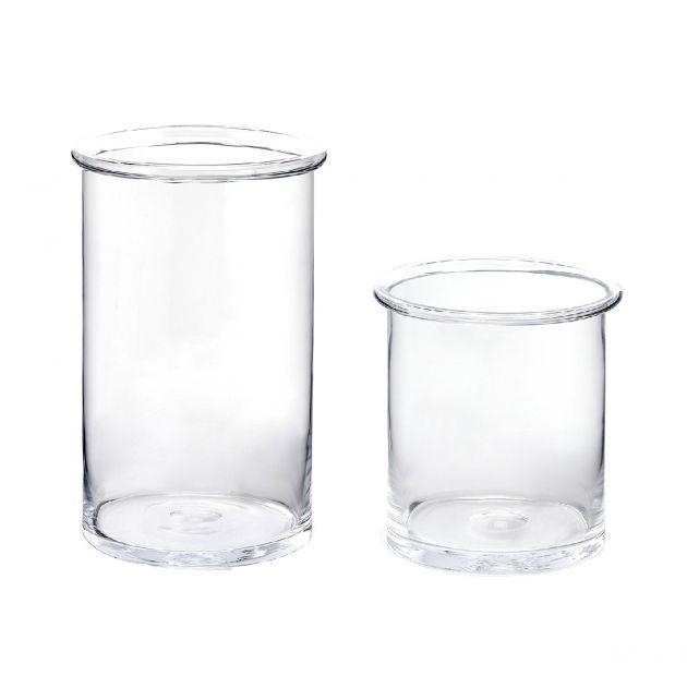 Vaso Cilindro vetro trasparente con bordo