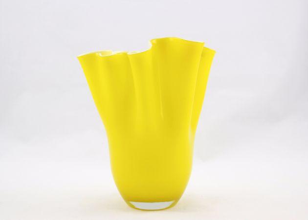 Vaso giallo Drappo H27 : vasi in vetro design EDG
