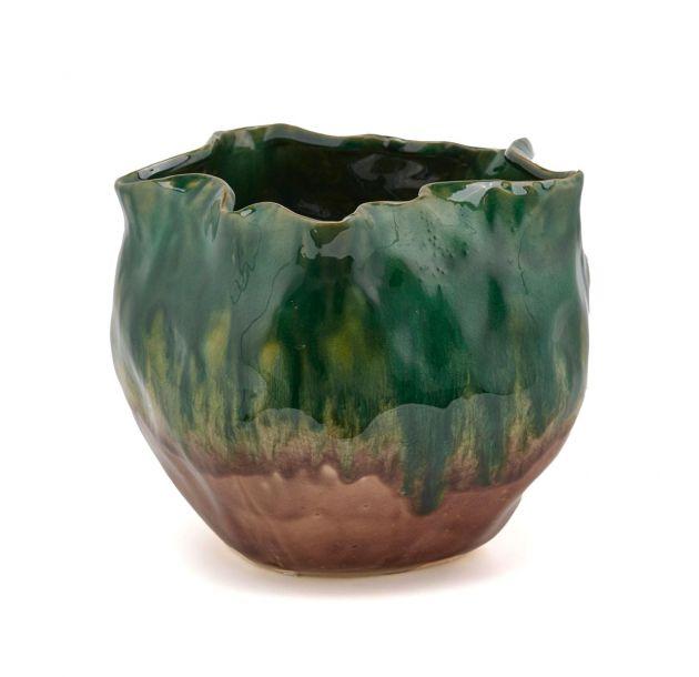 Vaso Drappo ceramica verde/marrone
