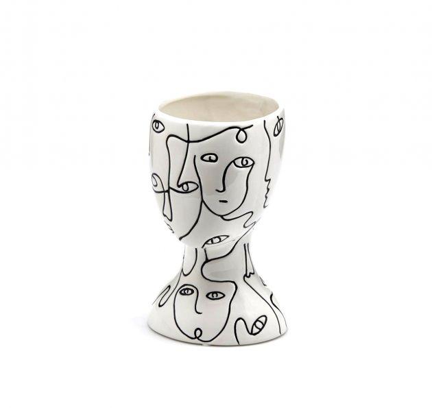Vaso FaceStyle H21 | Vaso in ceramica bianca con tratti somatici neri