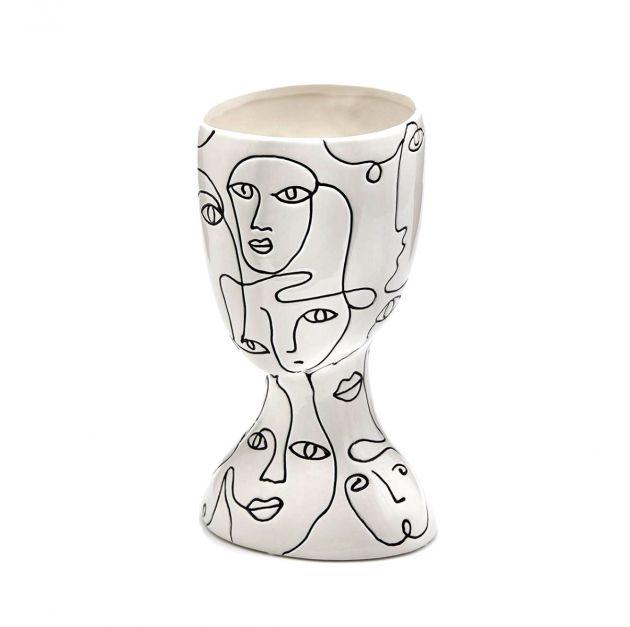 Vaso FaceStyle H26 | Vaso in ceramica bianca con tratti somatici neri