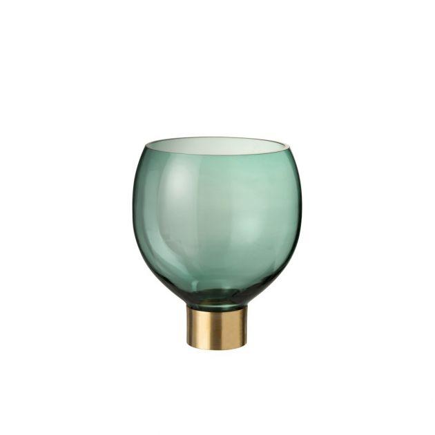 Vaso Gouden in vetro verde su base oro  Ø 22