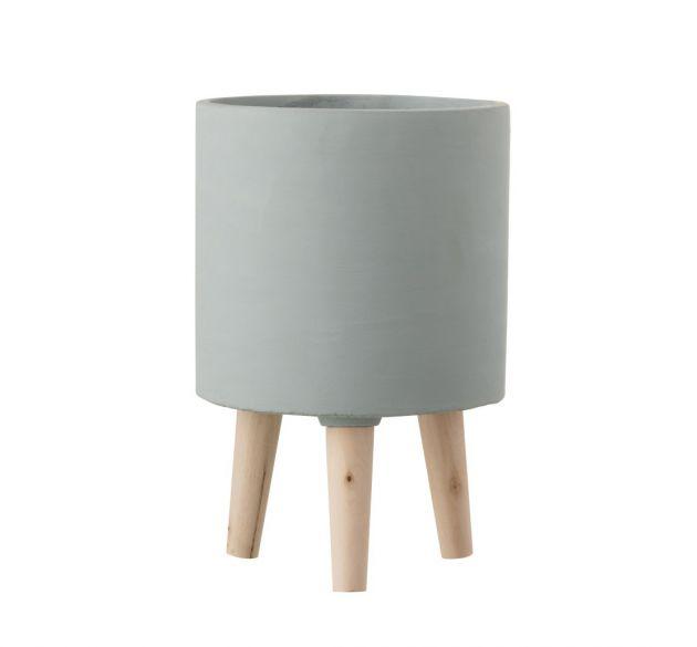 Bloempot Vaso in Cemento Azzurro Polvere su piedini in legno H30