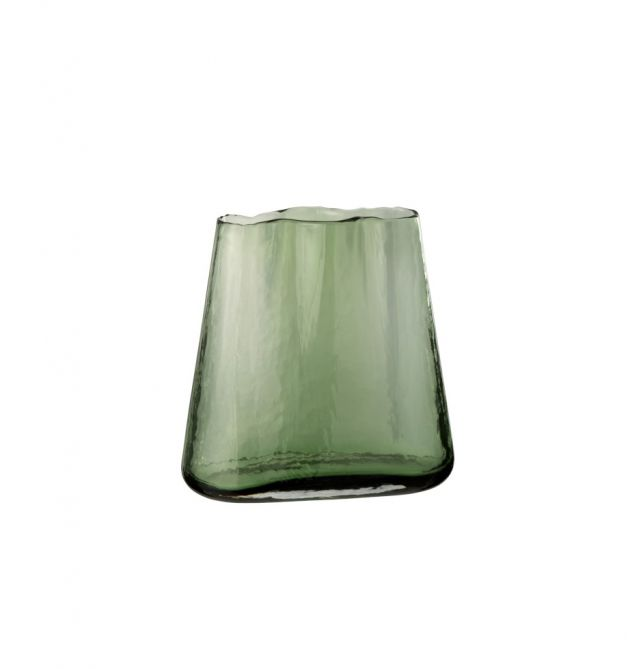 Vaso largo irregolare in vetro verde H20