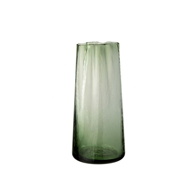 Vaso alto irregolare in vetro verde H33