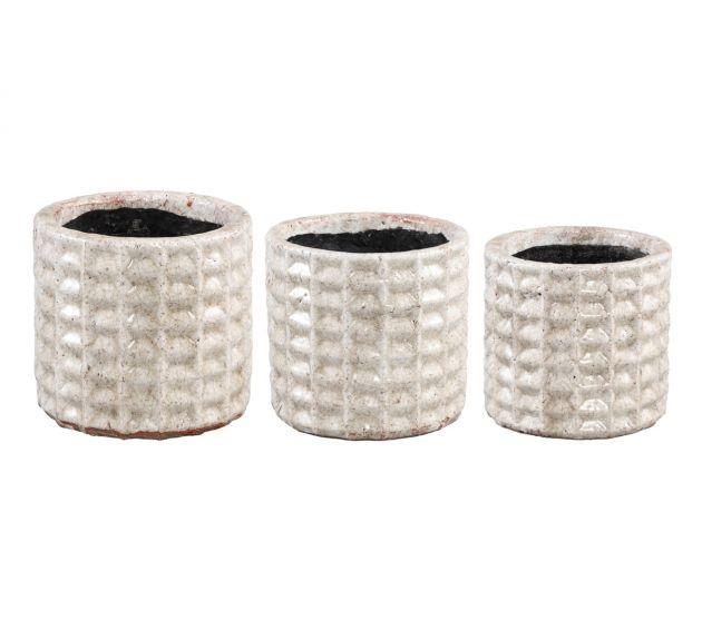 Vaso Lonna Cream | Vaso in terracotta bianca effetto crepato