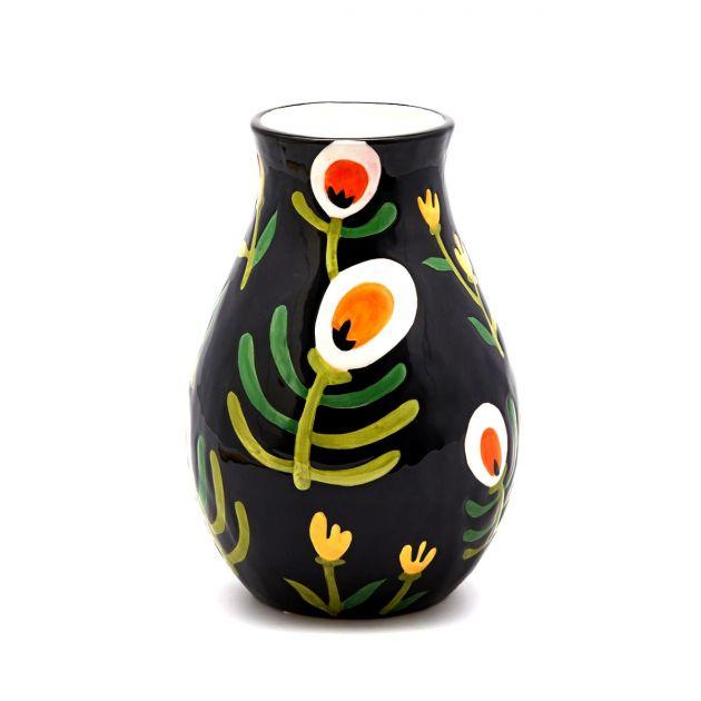 Vaso Spring nero con fiori H27
