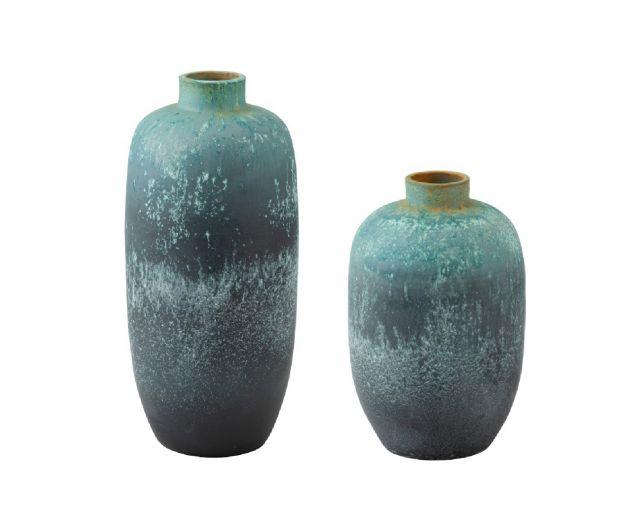 Vaso vintage in ceramica azzurro