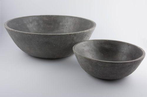 Set 2 ciotole Worthy antracite: vasi in cemento da esterno D&M