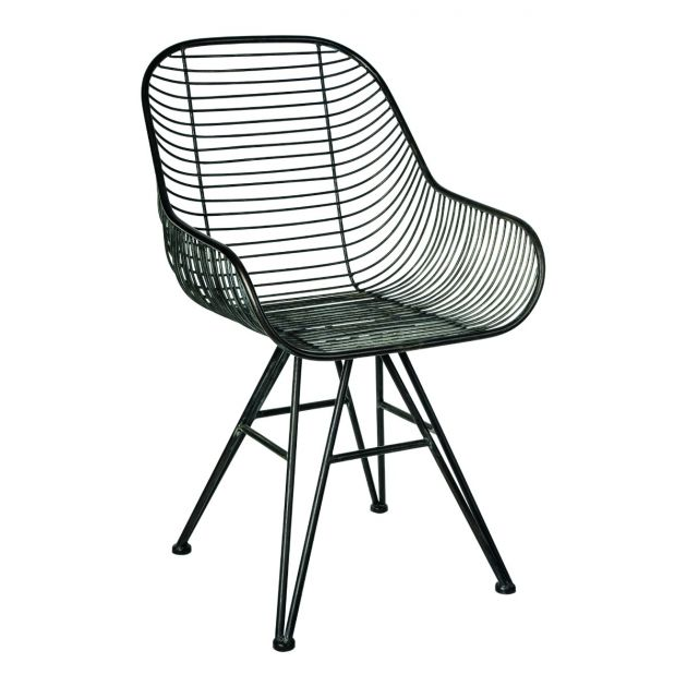 Sedia in metallo Wire con braccioli : Sedie di design in metallo