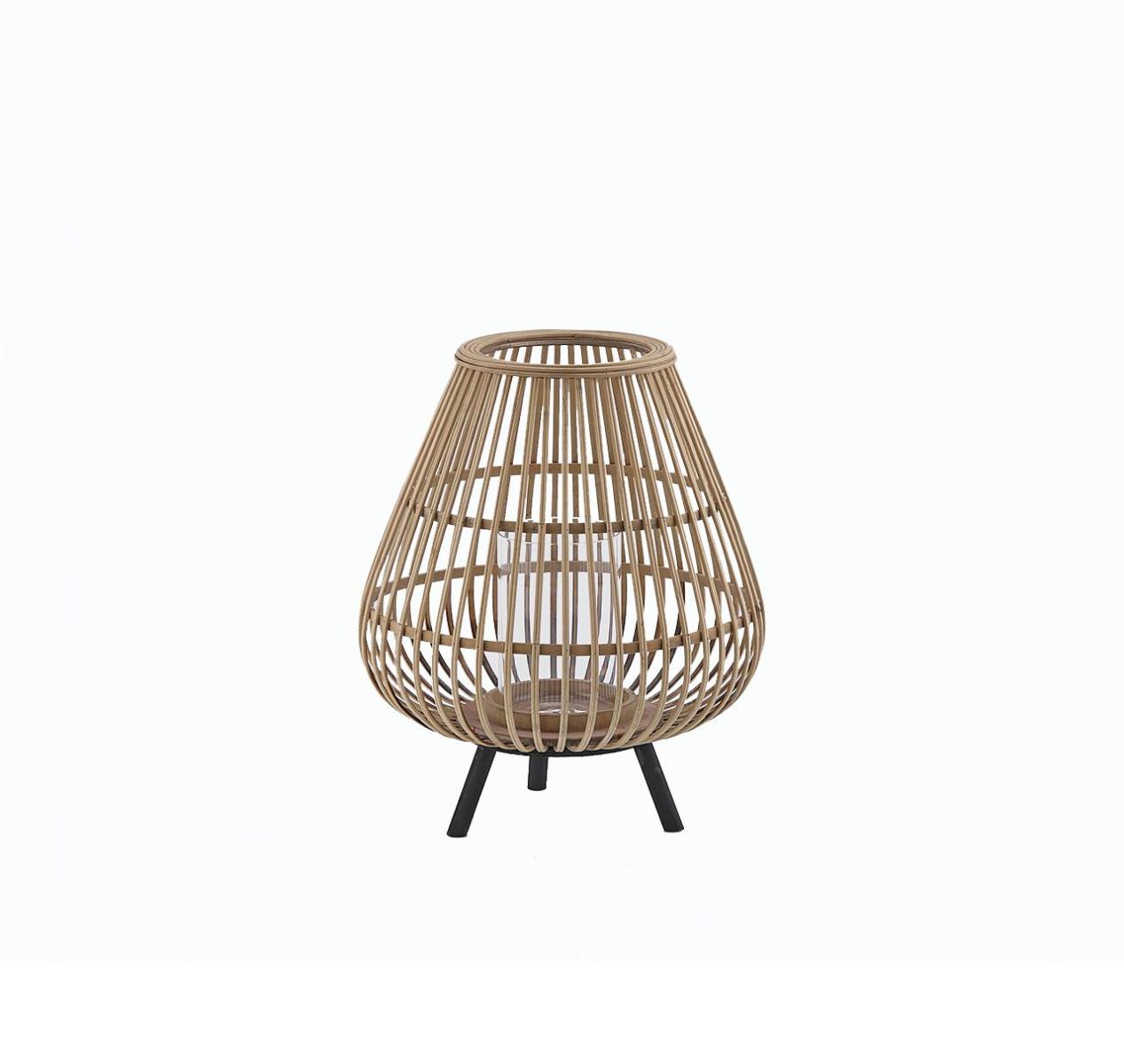 Lanterna in Bambù con piedini in legno H38